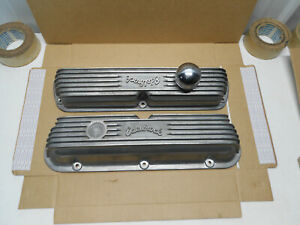 1960s Early Edelbrock 4160 Aluminum Valve Covers Ford Mercury 260 289 302 351w