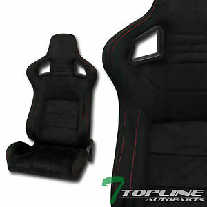 Topline For Gmc T1a 2x Jdm Mu Suede Red Stitch Racing Bucket Seats slider black