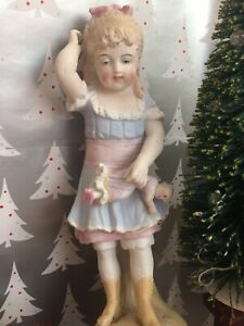 Antique German Bisque Statue Of A Little Girl Spanking Her Dolly C 1890 S 9 5
