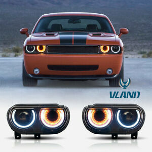 Led Headlights For 2008 2014 Dodge Challenger W Sequentail Projector Dual Beam