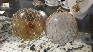 2 Vintage Antique Authentic Glass Fishing Floats W Netting 5 Frosted