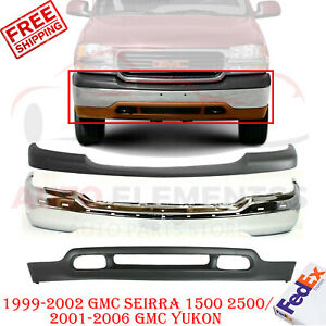 Front Bumper Chrome Up low Cover For Gmc Sierra 1500 2500 99 02 Yukon 01 06