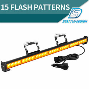 28w 31 Emergency Warning Led Strobe Light Bar With Large Suction Cups Amber