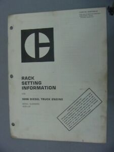 Caterpillar 3208 Diesel Engine Rack Setting Information 1975
