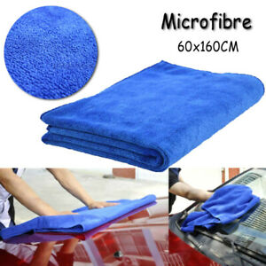 60 160cm Blue Soft Absorbent Wash Cloth Car Auto Care Microfiber Cleaning Towels