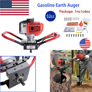 52cc 2 Stroke Gasoline Powered Earth Auger Ground Drill Post Hole Digger Us