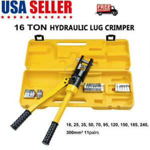 16 Ton Hydraulic Wire Terminal Crimper Battery Cable Lug Crimping Tool 11 Dies