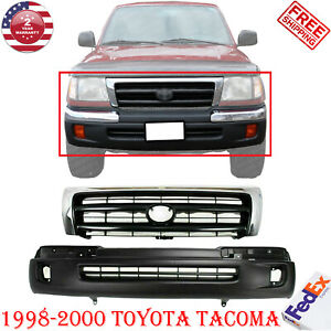 Front Bumper Primed Grille Chrome Shell Insert For 1998 2000 Toyota Tacoma