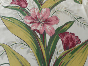 Antique Vintage Tulip Floral Faille Fabric Rose Wine Chartreuse Green Gray
