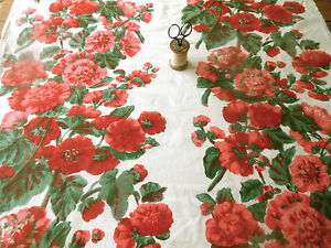 Antique Vintage Hollyhock Floral Cotton Fabric Red Pink White