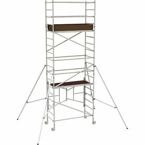 Metaltech Alq0106 12ft Aluminum Scaffold Tower W guardrail outriggers 800lb Cap