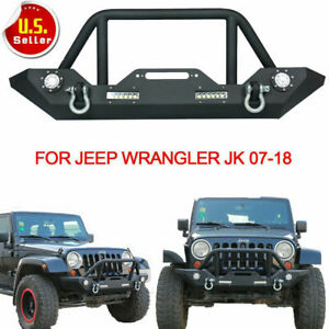 Front Bumper With Built in Led Lights And For Jeep Wrangler 07 18 Jk Unlimited V