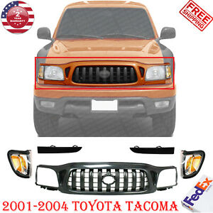 Front Grill Black Corner Light Head Lamp Filler For 2001 2004 Toyota Tacoma