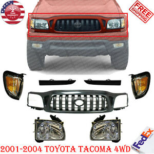 Front Grille Headlights Filler Corner Park Lamp For 01 2004 Toyota Tacoma