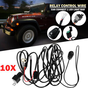 10 Wiring Loom Harness Kit Fuse Relay Switch Fit For Offroad Led Light Bar 1to1