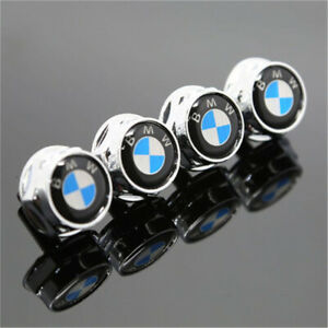 4x Metal Car Anti Theft License Plate Frame Screw Cap Covers For Bmw