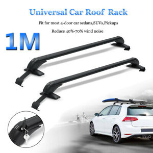 2pc Top Roof Cargo Rack Cross Bars Luggage Carrier Gasket Anti Theft For Car Suv