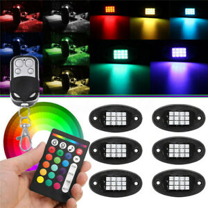 6pcs Rgb Rock Light Neon Under Glow Body Dual Remote Music Car Truck Boat Led
