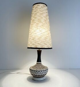 Mid Century Modern Table Lamp 20 Height Cone Shade Ceramic Base