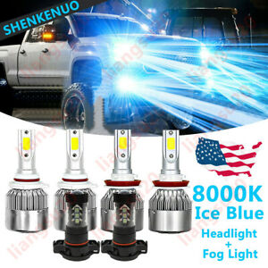 For Gmc Sierra 1500 2500 3500 8000k Led Headlights High Low Fog Light Bulbs Kit