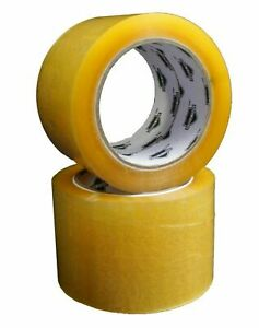 Packing Tape 2 Inch X 110 Yards 1 4 Mil Yellow Transparent Hybrid 360 Rolls