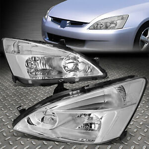 For 03 07 Honda Accord Chrome Housing Clear Corner Headlight Replacement Lamps