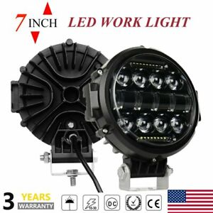 2x7inch Round Led Work Lights Bull Bar Fog Driving Spotlight Lamp Offroad Suv Us