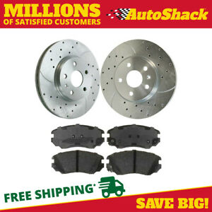 Front Drilled Slotted Brake Rotors Performance Ceramic Pad For 10 15 Gmc Terrain
