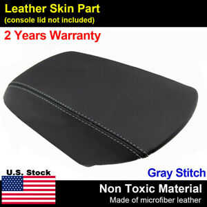 Black Leather Console Lid Armrest Cover Fits Ford Explorer 2011 2018 Gray Stitch