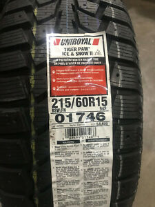 2 New 215 60 15 Uniroyal Tiger Paw Ice Snow Ii Winter Tires