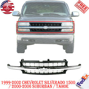 Grille Chrome Center Bar For 99 02 Chevy Silverado 1500 00 06 Suburban Tahoe