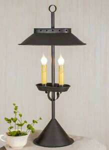 Double Candlelight Accent Lamp In Rustic Brown Tin
