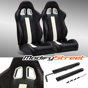 2 X Black Pvc Leather White Strip Red Stitching Left Right Racing Bucket Seats