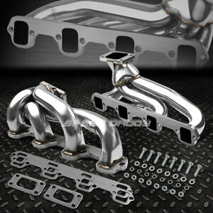 For 87 93 Mustang Gt svt 5 0 302 V8 T3 Stainless Racing Twin dual Turbo Manifold