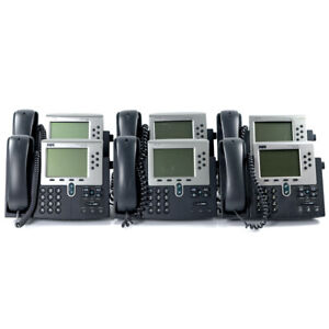 Lot Of 6 Cisco 7960 Cp 7960g Ip Voip Handset And Office Business Desktop Phone