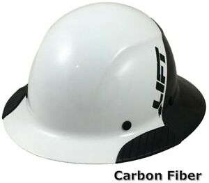 Dax Actual Carbon Fiber Full Brim Lift Safety Hard Hat 50 50 White And Black