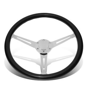 380mm Black Wood Grip Vintage Steering Wheel 2 deep Dish Stainless Steel Spoke
