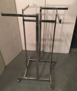 Clothing Rack 4 Way Straight Arms Black Clothes Adjustable Garment Retail Wheels