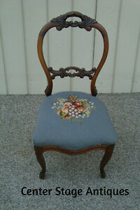 60505 Antique Victorian Needlepoint Side Chair