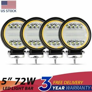4x 5 Inch 144w Round Led Work Light Spot Flood Driving Fog Lamp Suv Offroad 4
