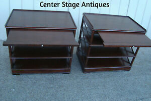 60617 Pair Mahogany Console Table Stands With Pull Outs