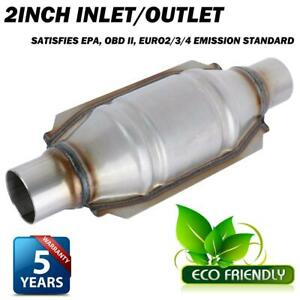 Universal 2 Inlet Outlet Exhaust Catalytic Converter Stainless Steel Epa Obd Ii