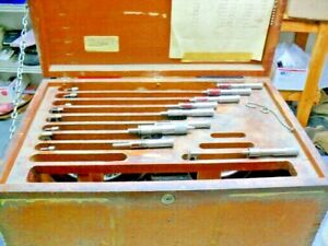 Vintage J t slocomb Co Micrometers Set Mitutoyo Standards 9 Units Wooden Case