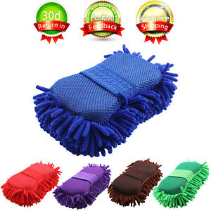 Car Auto Hand Wash Towel Microfiber Washing Gloves Coral Sponge Cleaning Tool $5.95