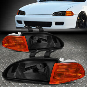 For 92 95 Honda Civic Smoked Housing Amber Corner Headlight Replacement Lamps