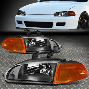 For 92 95 Honda Civic Black Housing Amber Corner Headlight Replacement Lamps