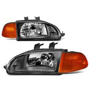For 1992 1995 Honda Civic Pair Black Housing Amber Corner Headlight Head Lamps