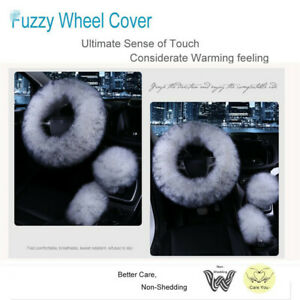 3pcs Fur Car Steering Wheel Cover Mature Gray Wool Furry Fluffy Thick For Winter