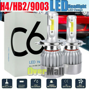 Pair H4 Hb2 9003 20000lm 1000w Led Headlight Kit Hi lo Beam Bulbs 6000k White C6