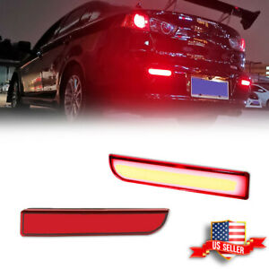 For Mitsubishi Lancer Evo Rear Bumper Reflector Red Brake Led W Turn Signal Kit